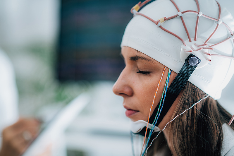 Brainwave EEG or Electroencephalograph Examination in a Clinic